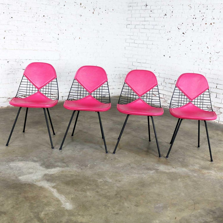 Painted 4 DKX-2 Wire Bikini Shell Chairs X Bases Hot Pink Bikinis Eames Herman Miller For Sale