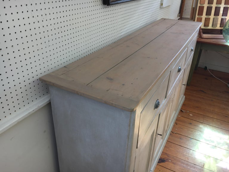 4-Door, 3-Drawer English Base with Scrubbed Pine Top In Good Condition For Sale In Sheffield, MA