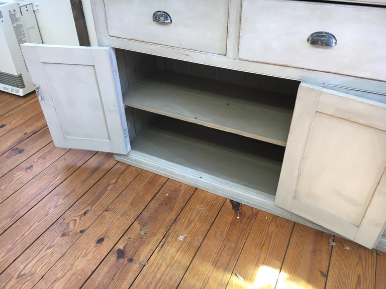4-Door, 3-Drawer English Base with Scrubbed Pine Top For Sale 1