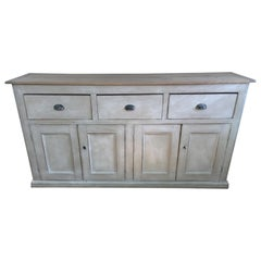 4-Door, 3-Drawer English Base with Scrubbed Pine Top