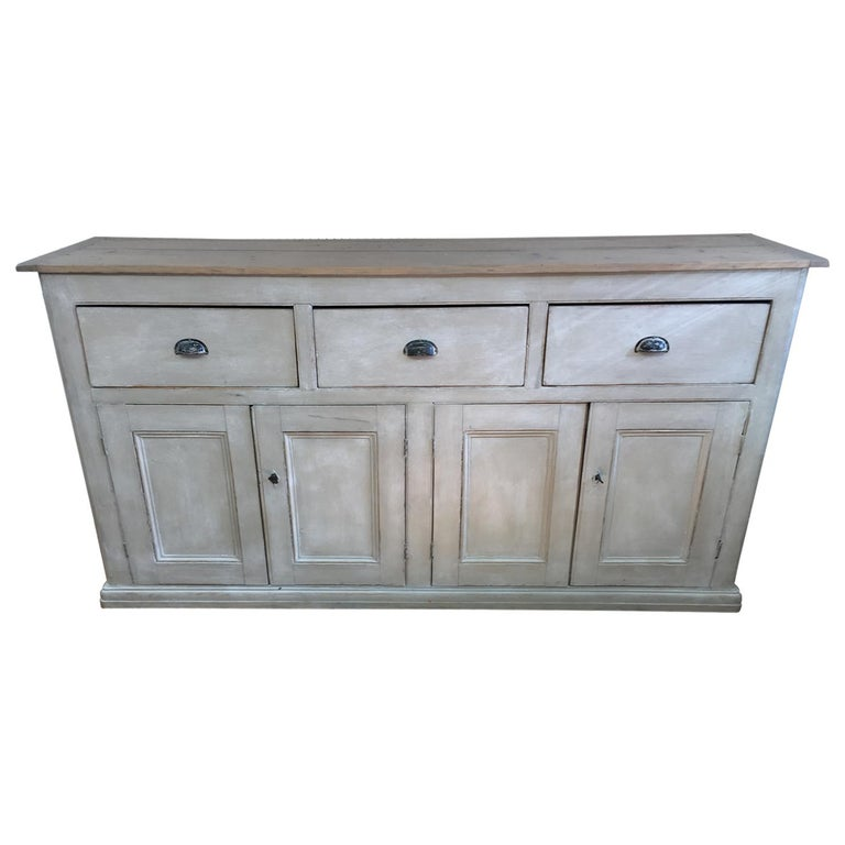4-Door, 3-Drawer English Base with Scrubbed Pine Top For Sale