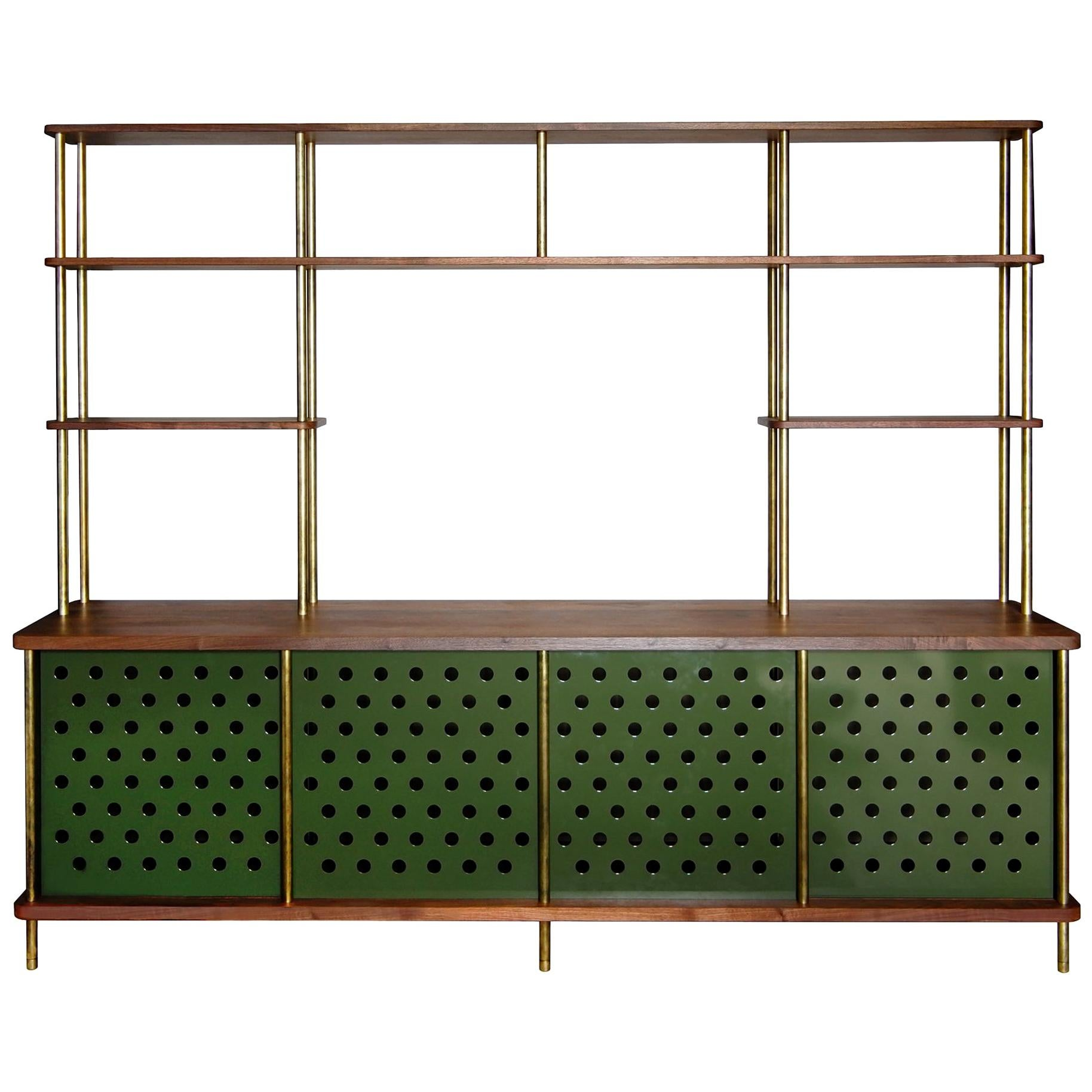 4 Door Strata Credenza in Walnut Wood and Brass by Fort Standard, in Stock