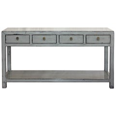 4-Drawer Gray Console Table
