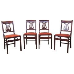 4 Duncan Phyfe Harp Back Stakmore Aristorcrats Folding Furniture Game Chairs MCM