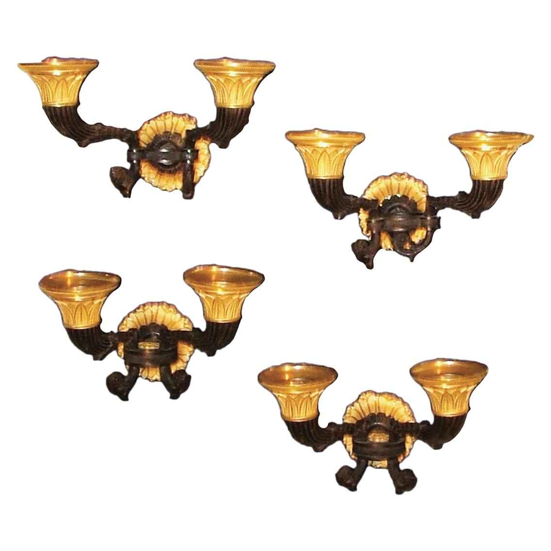 4 Early 19th Century French Bronze and Ormolu Wall Lights
