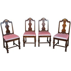 4 Early 20th Century Antique Jacobean Revival Burled Walnut Dining Side Chairs