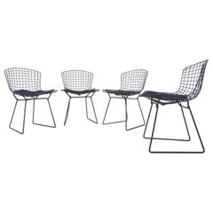 4 Early Production Midcentury Black Bertoia Side Chairs by Knoll, circa 1960