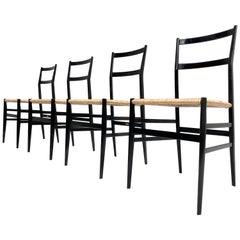 4 Early Superleggera Chairs by Gio Ponti for Cassina Italy 1955