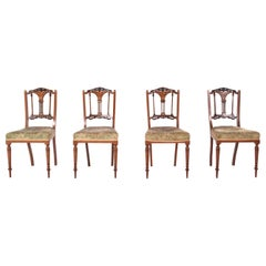 4 Edwardian Rosewood Inlaid Dining Chairs