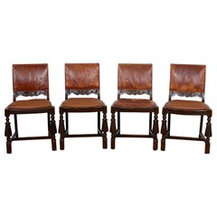 4 English Carved Oak Leather Dining Chairs Antique