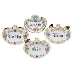 4 English Porcelain Liquor Bottle Decanter Label Tags Brandy Vodka Vino Limoges