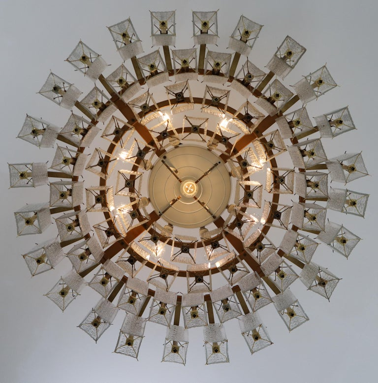 4 Extreme Large Midcentury Chandeliers in Structured Glass and Brass from Europe For Sale 5
