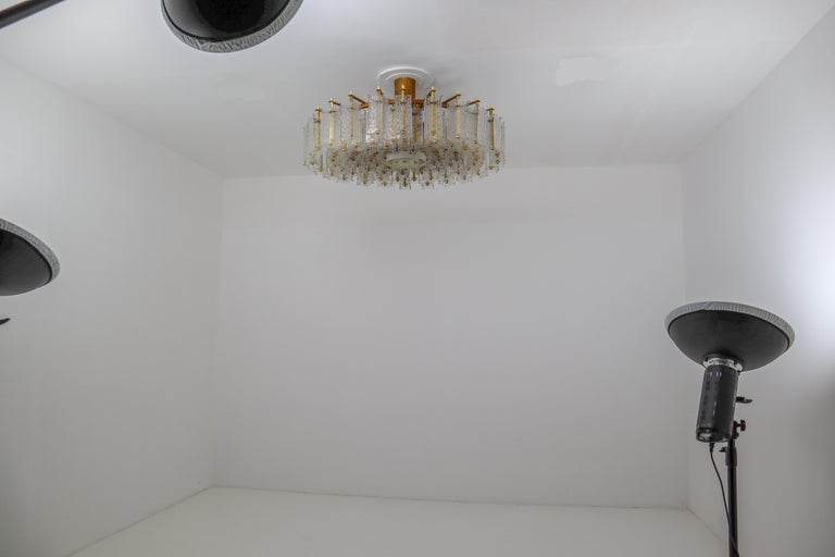 4 Extreme Large Midcentury Chandeliers in Structured Glass and Brass from Europe For Sale 8