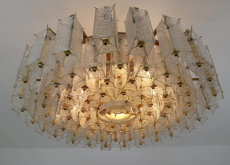 4 Extreme Large Midcentury Chandeliers in Structured Glass and Brass from Europe For Sale 9