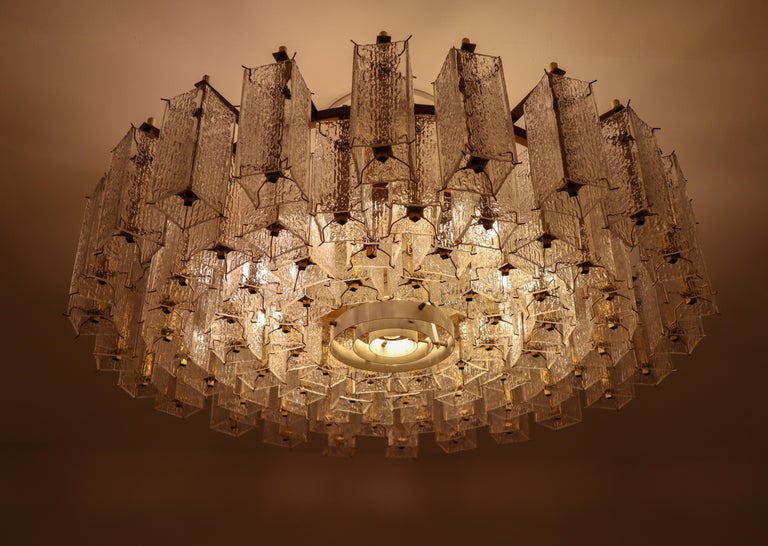 4 Extreme Large Midcentury Chandeliers in Structured Glass and Brass from Europe For Sale 10