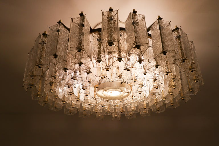 Mid-Century Modern 4 Extreme Large Midcentury Chandeliers in Structured Glass and Brass from Europe For Sale