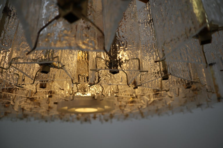 European 4 Extreme Large Midcentury Chandeliers in Structured Glass and Brass from Europe For Sale