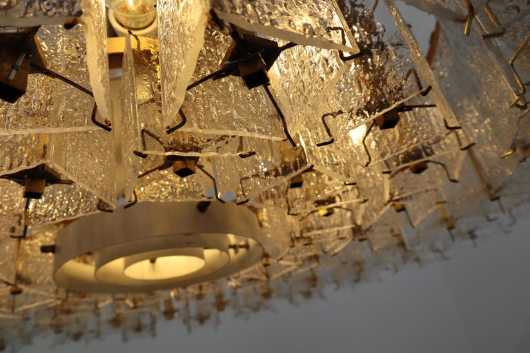 4 Extreme Large Midcentury Chandeliers in Structured Glass and Brass from Europe In Good Condition For Sale In Almelo, NL