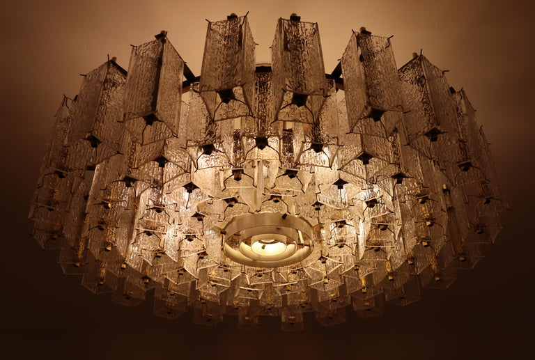 20th Century 4 Extreme Large Midcentury Chandeliers in Structured Glass and Brass from Europe For Sale
