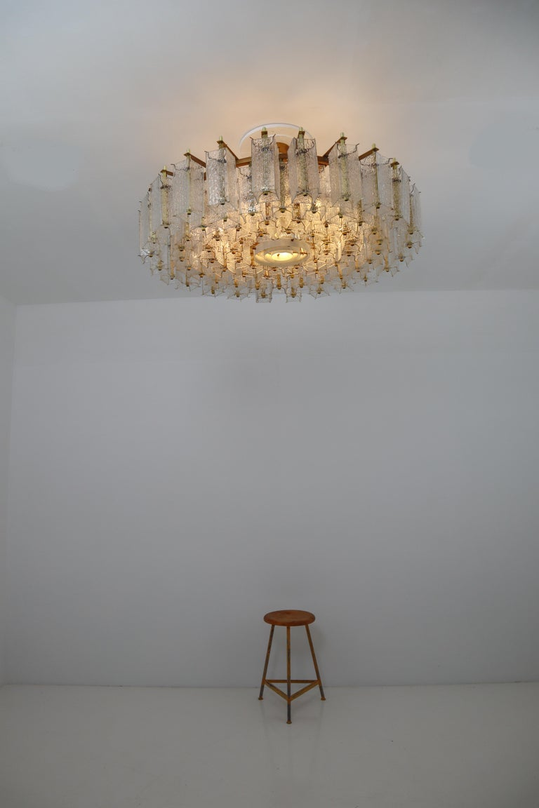 4 Extreme Large Midcentury Chandeliers in Structured Glass and Brass from Europe For Sale 1
