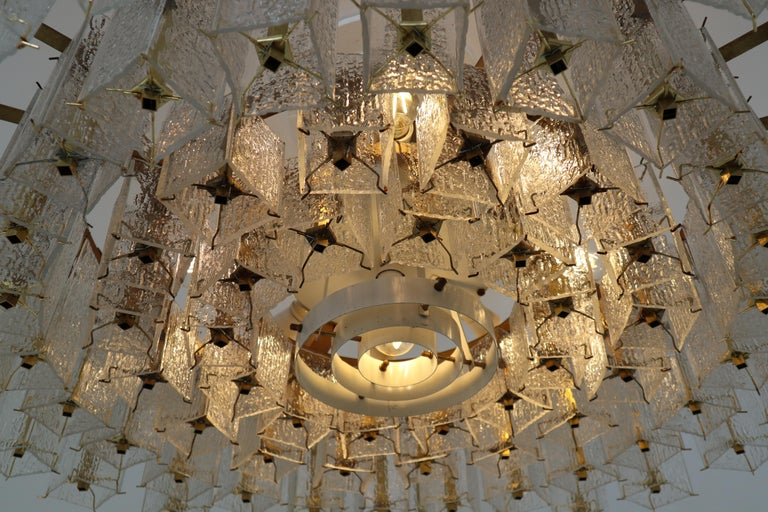 4 Extreme Large Midcentury Chandeliers in Structured Glass and Brass from Europe For Sale 3