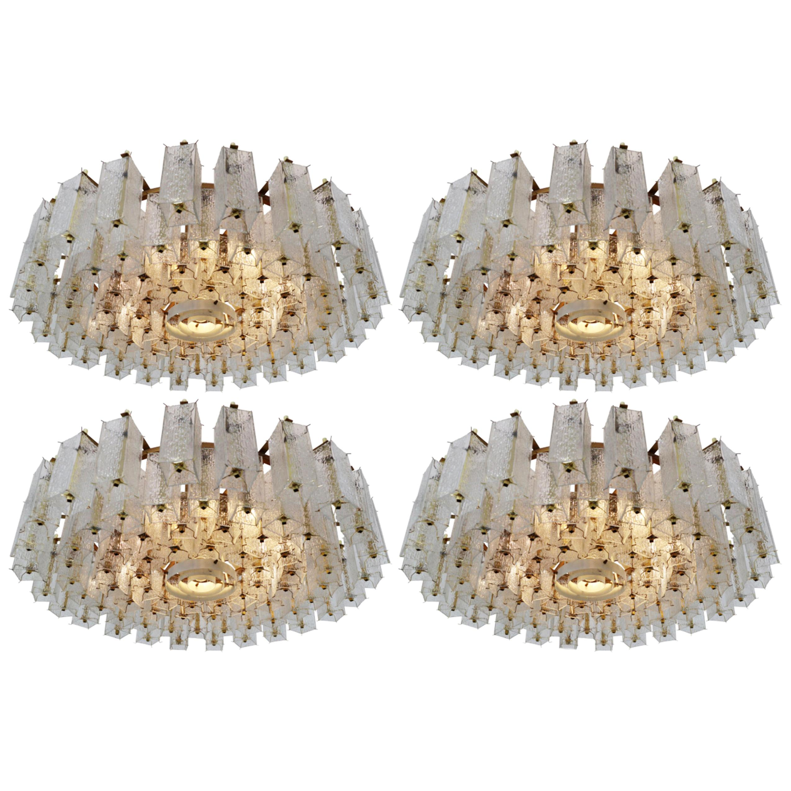 4 Extreme Large Midcentury Chandeliers in Structured Glass and Brass from Europe