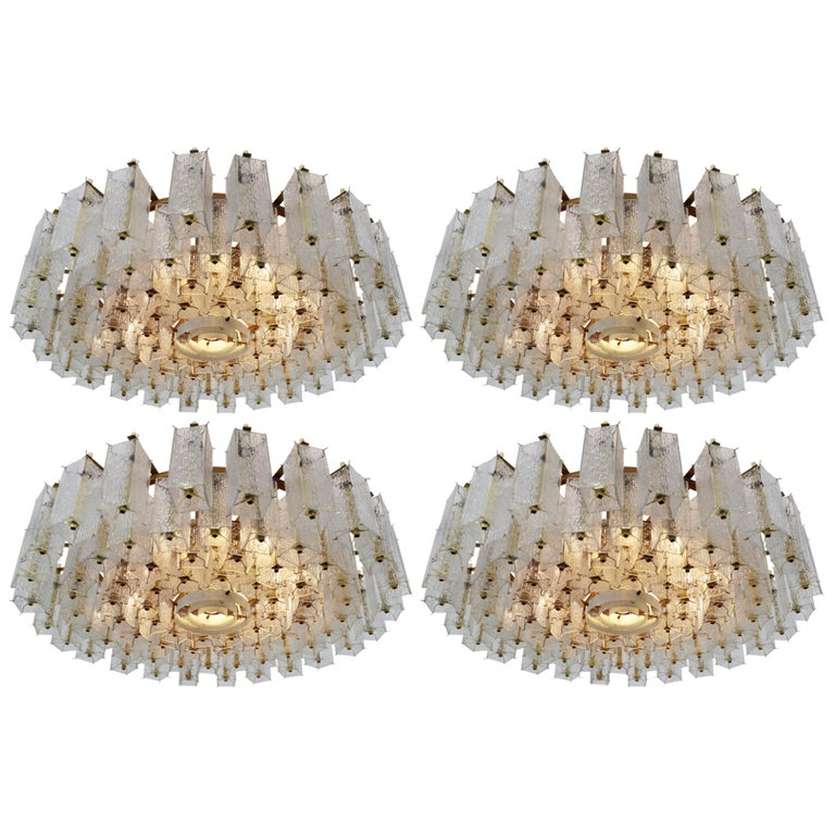 4 Extreme Large Midcentury Chandeliers in Structured Glass and Brass from Europe For Sale