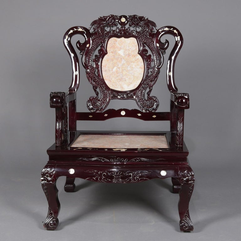 Chinoiserie 4 Figural Chinese Mother of Pearl Inlaid Carved Hardwood Marble Chairs For Sale