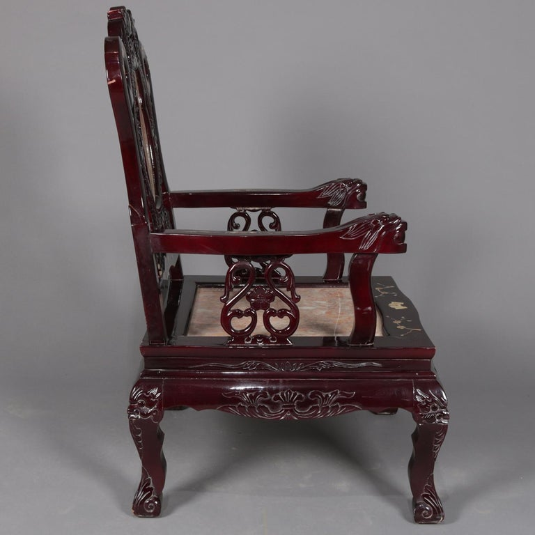 Mother-of-Pearl 4 Figural Chinese Mother of Pearl Inlaid Carved Hardwood Marble Chairs For Sale