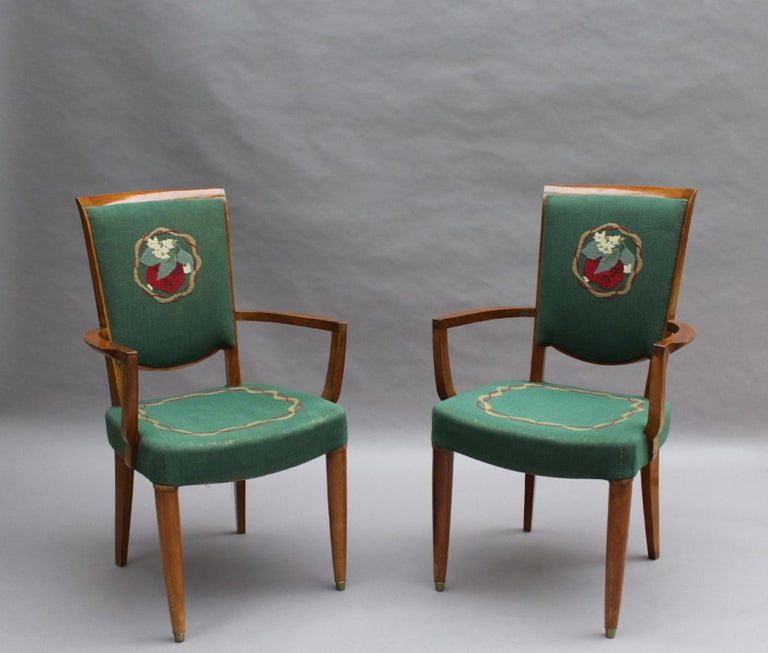 Four fine French Art Deco walnut bridge arm chairs by Jules Leleu. Original Aubusson tapestry, as shown in