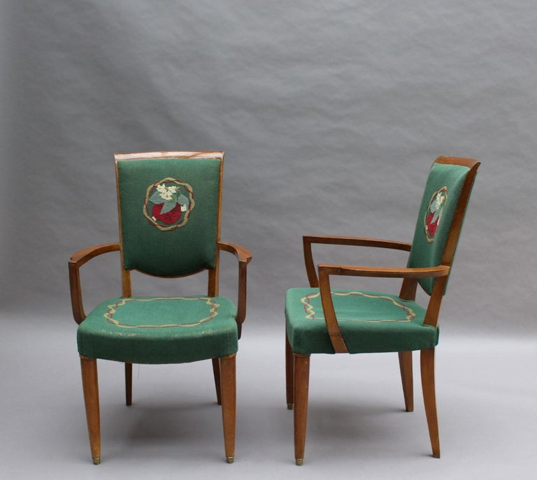 Mid-20th Century 4 Fine French Art Deco Armchairs by Jules Leleu For Sale