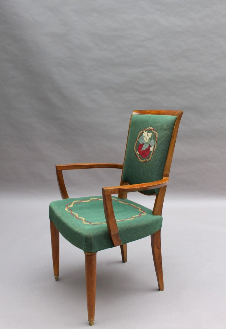 4 Fine French Art Deco Armchairs by Jules Leleu For Sale 2
