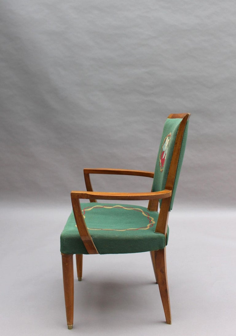 4 Fine French Art Deco Armchairs by Jules Leleu For Sale 3