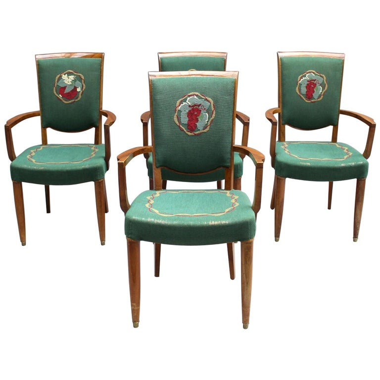 4 Fine French Art Deco Armchairs by Jules Leleu For Sale