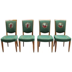 4 Fine French Art Deco Dining Chairs by Jules Leleu (4 arm chairs available)