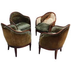 4 Fine French Art Deco Mahogany Gondola Chairs