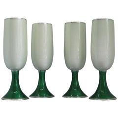 4 Fine Gucci Sterling Silver & Guilloche Enamel Champagne Flute Goblets Italian