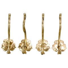 4 Floral Brass Hooks Jugendstil, circa 1907