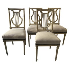 4 French 1950s Lyre Back Side Chairs