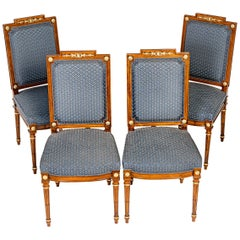 4 French 19th Century Louis XVI Style Cherry Dining Chairs without Armrest