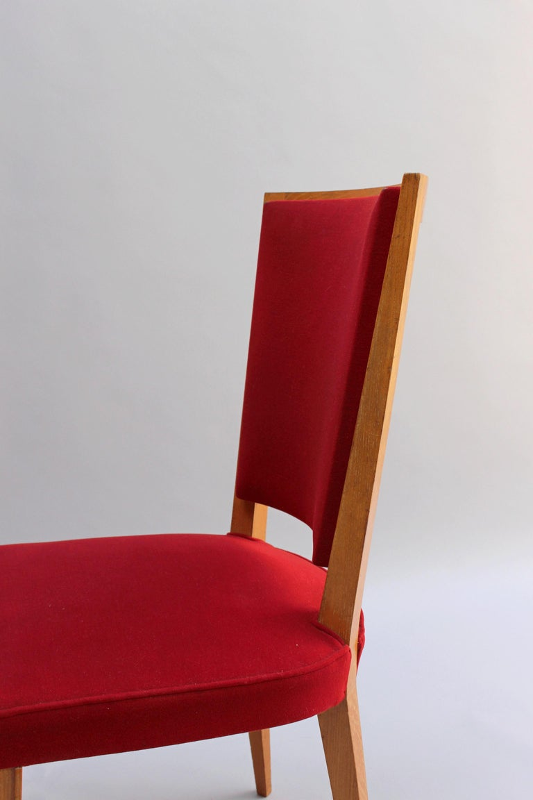 4 French Art Deco Oak Dining Chairs For Sale 6