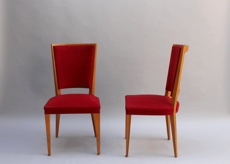 4 French Art Deco Oak Dining Chairs In Good Condition For Sale In Long Island City, NY