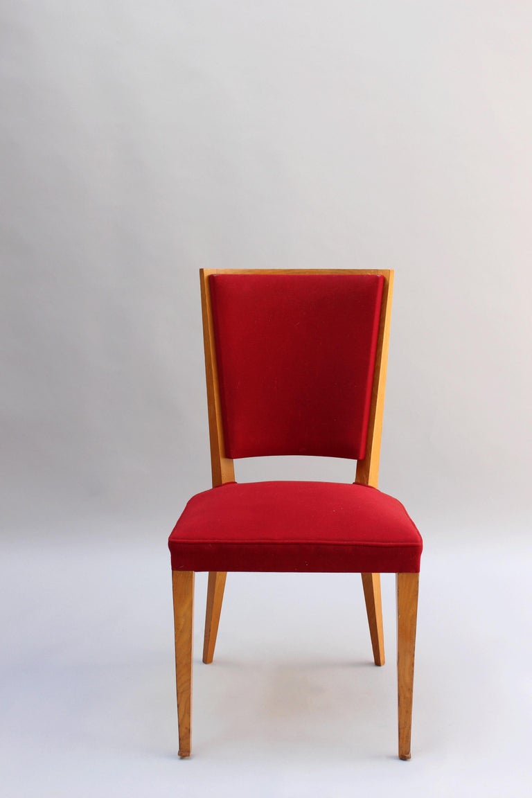 Mid-20th Century 4 French Art Deco Oak Dining Chairs For Sale