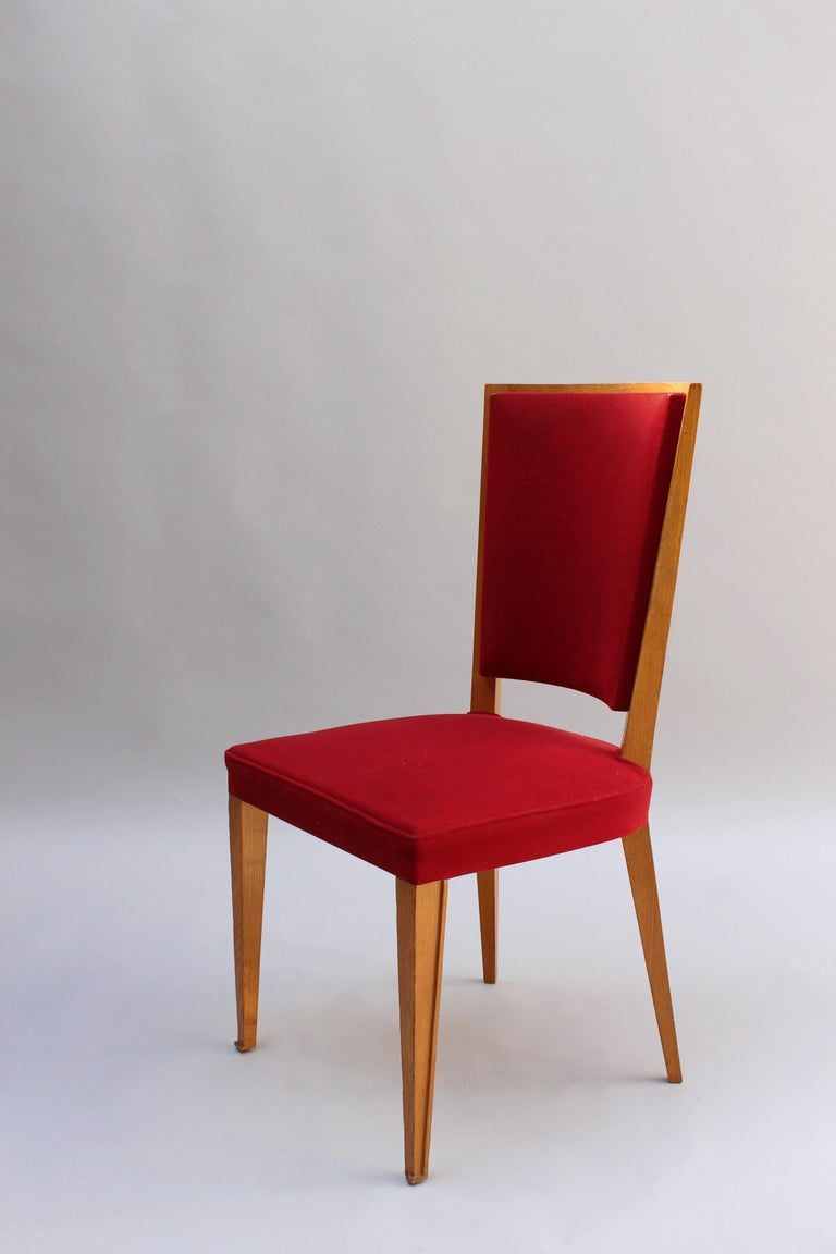 4 French Art Deco Oak Dining Chairs For Sale 1