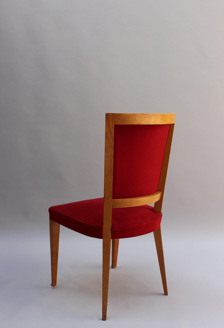 4 French Art Deco Oak Dining Chairs For Sale 3