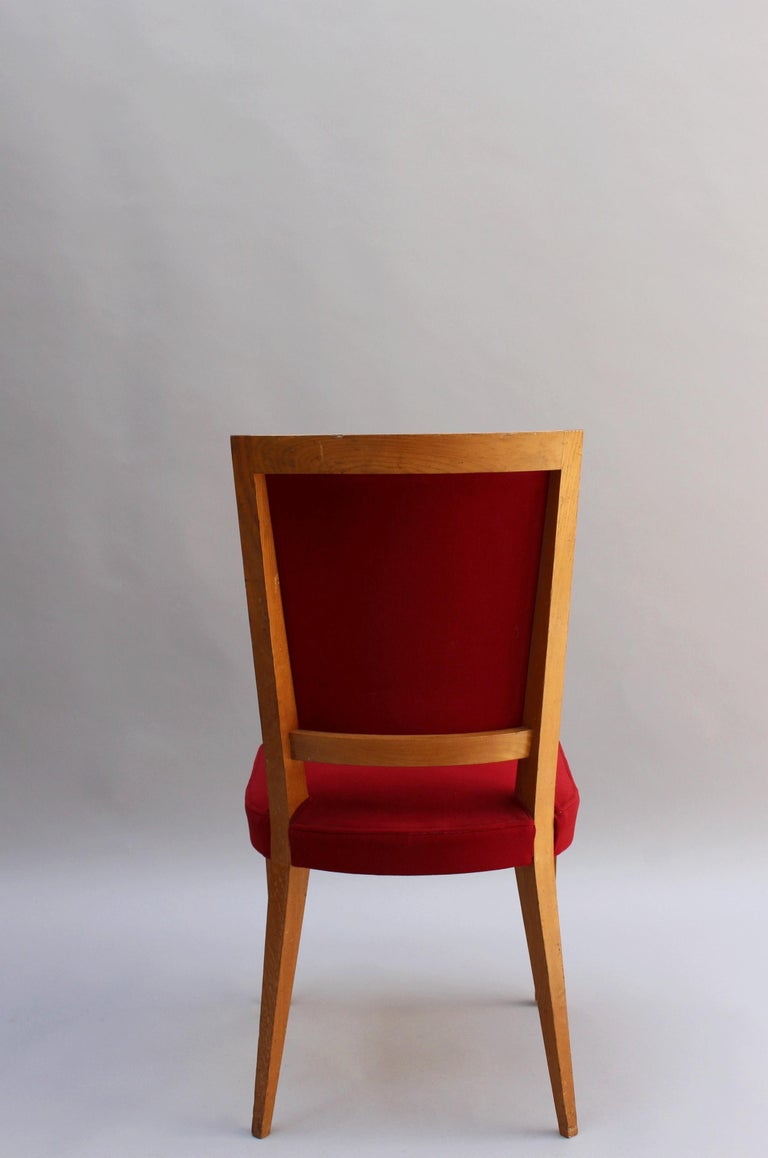4 French Art Deco Oak Dining Chairs For Sale 4