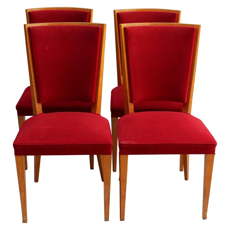 4 French Art Deco Oak Dining Chairs For Sale