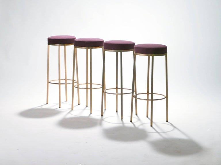 Four French Bar Stools In Brass By Maison Romeo 1970s At 1stdibs