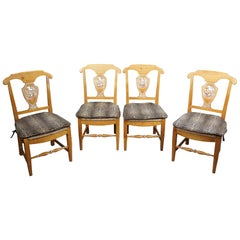 4 French Country Rustic Pine Leopard and Rush Seat Farmhouse Side Dining Chairs