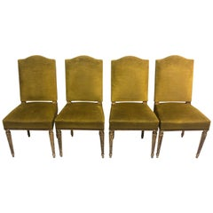 4 French Modern Neoclassical Dining Chairs Attributed to Maison Jansen, 1940
